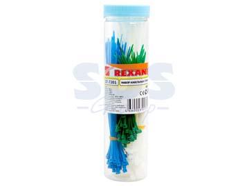 Набор стяжек нейлоновых 100, 150, 200 мм, цветные, НХ-1 (тубус 200 шт) REXANT, Китай 07-7201