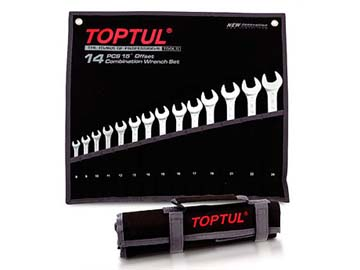 Набор ключей комбинир. 6-22мм 12шт (черное полотно) TOPTUL (GPAB1204), Тайвань TOPTUL GPAB1204