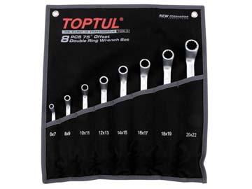 Набор ключей накидн. 6-22мм 8шт (черное полотно) TOPTUL (GPAI0802), Тайвань