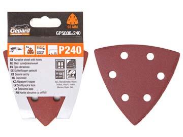Шлифлист 93мм дельта Р320 д/ дерева 6 отв. 5шт. GEPARD (GP5006-320) (лист шлифовальный перфорированный треугольник абразивный), Китай