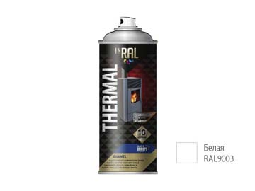 Краска-эмаль аэроз. термостойкая силиконовая белый INRAL 400мл (9003) (Цвет белый мат.), Польша