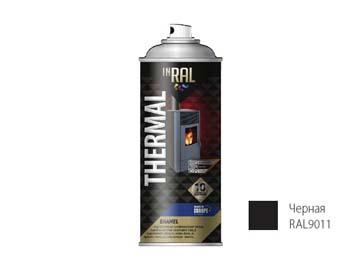 Краска-эмаль аэроз. термостойкая силиконовая черный INRAL 400мл (9011) (Цвет черный мат.), Польша