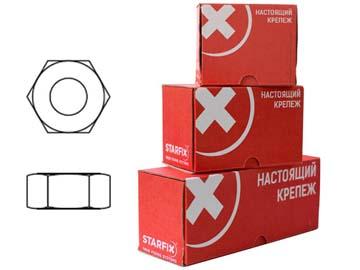 Гайка М6 шестигр., цинк, кл.пр. 6, DIN 934 (300 шт в карт. уп.) STARFIX, Китай