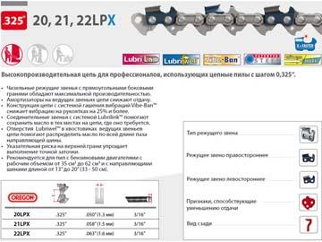 """Цепь 50 см 20"""" 0.325"""" 1.5 мм 76 зв. 21LPX OREGON (затачиваются напильником 4.8 мм, для проф. интенсивного использования), Канада"""