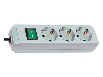 Удлинитель 1.5м (3 роз., 3.3кВт, с/ з, выкл., ПВС) светло-серый Brennenstuhl Eco-Line (провод 3х1, 5мм2, сила тока 16А, с/ з - с заземляющим контактом), Китай