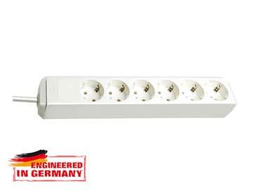 Удлинитель 1.5м (6 роз., 3.3кВт, с/з, ПВС) белый Brennenstuhl Eco-Line (провод 3х1, 5мм2, сила тока 16А, с/з - с заземляющим контактом), Китай