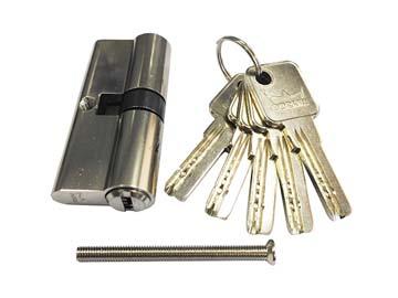 Евроцилиндр DORMA CBR-1 80 (40x40) никель (перфорированный ключ), Китай