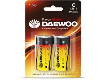 Батарейка C LR14 1, 5V alkaline BL-2шт DAEWOO ENERGY, Китай