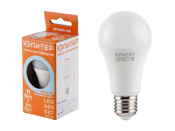 Лампа светодиодная A60 СТАНДАРТ 11 Вт 170-240В E27 4000К ЮПИТЕР (90 Вт аналог лампы накал., 960Лм, нейтральный белый свет), Китай