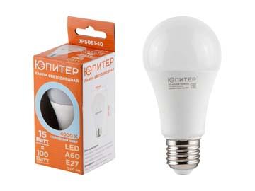 Лампа светодиодная A60 СТАНДАРТ 15 Вт 170-240В E27 4000К ЮПИТЕР (100 Вт аналог лампы накал., 1200Лм, нейтральный белый свет), Китай JP5081-10