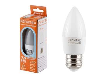 Лампа светодиодная C37 СВЕЧА 7, 5 Вт 170-240В E27 4000К ЮПИТЕР (60 Вт аналог лампы накал., 560Лм, нейтральный белый свет), Китай