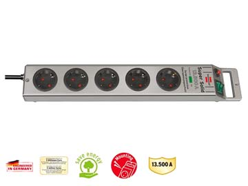 Удлинитель /фильтр сетев. 2.5м (5 роз., 3.3кВт, с/з, выкл., ПВС) Brennenstuhl Super-Solid-Line (провод 3х1, 5мм2, сила тока 16А, до 13 500 А), Китай