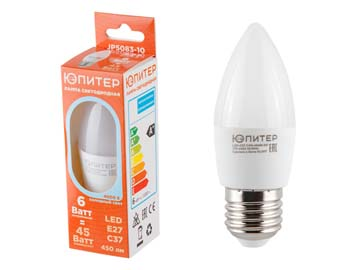 Лампа светодиодная C37 СВЕЧА 6 Вт 170-240В E27 4000К ЮПИТЕР (45 Вт аналог лампы накал., 450Лм, нейтральный белый свет), Китай ЮПИТЕР JP5083-10