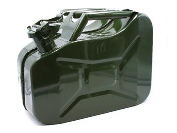 Канистра стальная, 10 л с фиксатором (толщина металла 0, 8 мм) высота 25 см