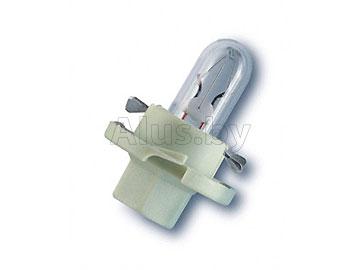 Лампа автомобильная накаливания 12V, 2W,  BX8.4D (с пластиковым цоколем для подсветки приборов, цвет - бело-зеленый)