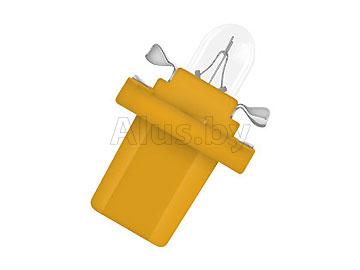 Лампа автомобильная накаливания 12V, 1, 5W,  BX8.5D (с пластиковым цоколем для подсветки приборов, цвет - ярко-желтый)