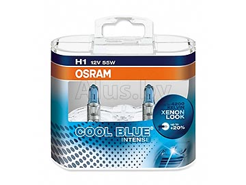 Лампа автомобильная галогеновая H1 12V, 55W, P14.5s COOL BLUE INTENSE (однонитиевая головного света) , 2 шт.