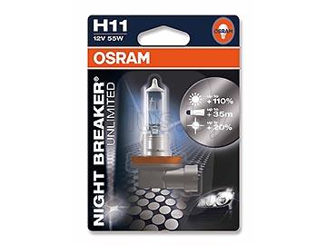 Лампа автомобильная галогеновая H11 12V, 55W, PGJ19-2. NIGHT BREAKER UNLIMITED