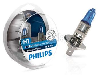 Лампа автомобильная галогеновая H1 12V, 55W, P14, 5s Diamond Vision, 2 шт. PHILIPS 12258DVS2