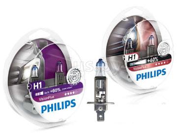 Лампа автомобильная галогеновая H1 12V, 55W, P14, 5s VisionPlus + 60%, 2 шт. PHILIPS 12258VPS2