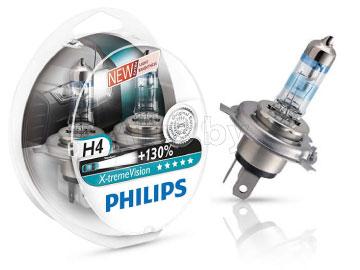 Лампа автомобильная галогеновая H4 12V, 60/55W, P43t-38 X-treme VISION +130%