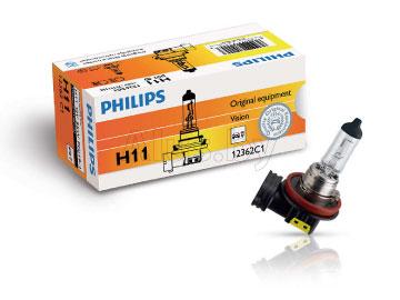 Лампа автомобильная галогеновая H11 12V, 55W, PGJ19-2 Vision + 30%