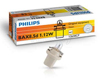 Лампа автомобильная накаливания 12V, BAX BX8.5d White, 1.12W, BX8.5d white