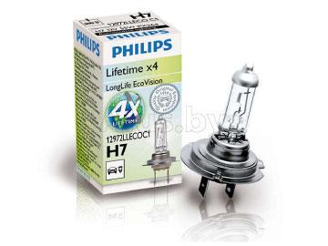 Лампа автомобильная галогеновая H7 12V, 55W, PX26d LongerLife Ecovision - 4 x lifetime